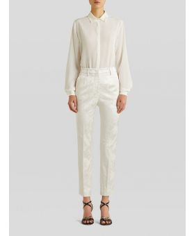 Floral-Jacquard Tailored Trousers