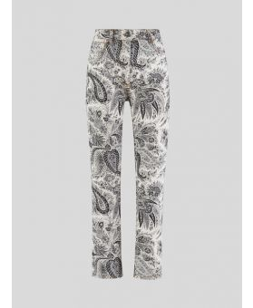 High-Rise Paisley-Print Flared Trousers