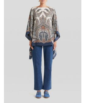 Paisley Embroidered Draped Silk Top