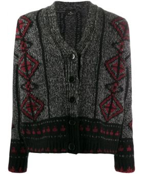 Geometric Wool Knit Cardigan