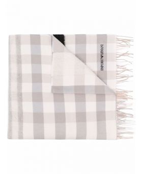 Woman Logo-Embroidered Checked Scarf