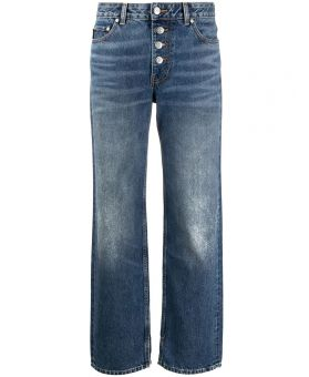 Washed Denim Straight Leg Jeans