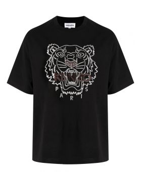 Man Tiger Embroidered T-Shirt
