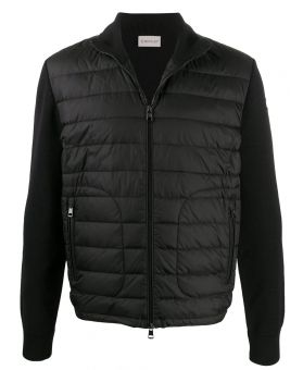 Man Padded Panel Knitted Jacket