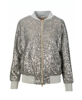 Sequined Zip-up Bomber Jacket