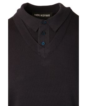 Layered Knitted Polo Shirt
