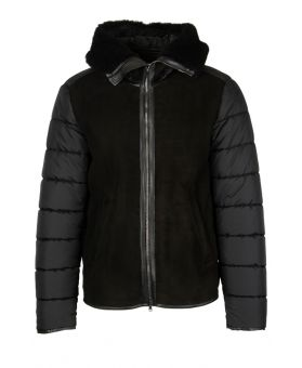 Puffer Jacket With Leather Body