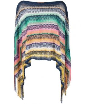 Striped Knitted Poncho