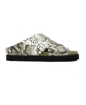 Embossed Snake Mid Crossover Sandals