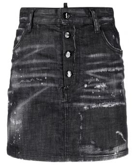 Woman Distressed Effect Skirt
