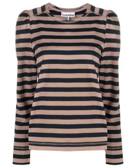 Striped Puff Sleeves T-Shirt