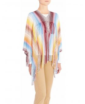 Woven Fringed Multicolored Poncho