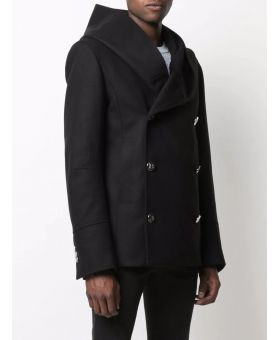 Man Double-Breasted Hooded Coat