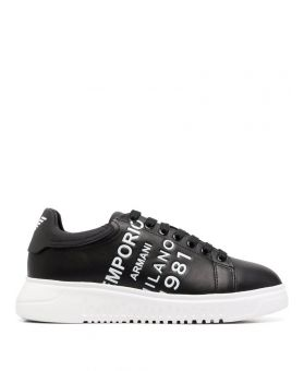 Embossed-Logo Leather Sneakers